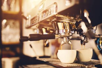 Fototapeta Morning coffee preparation. Coffeemaker. obraz