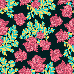 pink roses on a dark background seamless pattern
