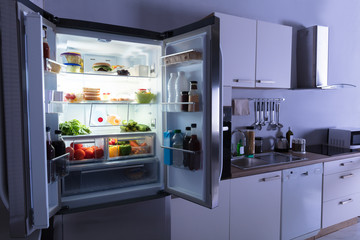 Open Refrigerator In Kitchen