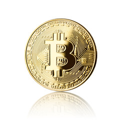 golden bitcoin, isolated on white
