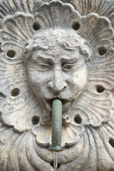 Stone face detail from Onofrio Fountain [built 1438] in Dubrovnik, Croatia