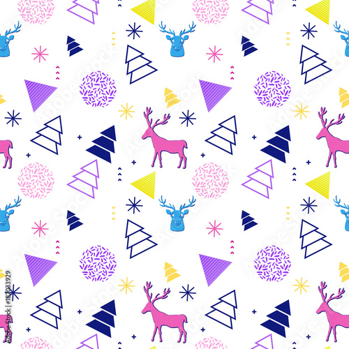 90s Christmas Background.Merry Christmas Geometric Seamless Pattern In Trendy Memphis 90s