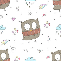 Cute Vector owls in cartoon style. vector pattern