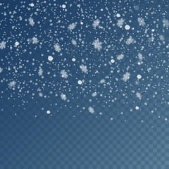 Falling snow on a transparent background. Abstract snowflake background. Fall of snow. Vector illustrator 10 EPS.
