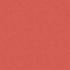 Abstract Circle Pattern. Red Seamless Background in Vector