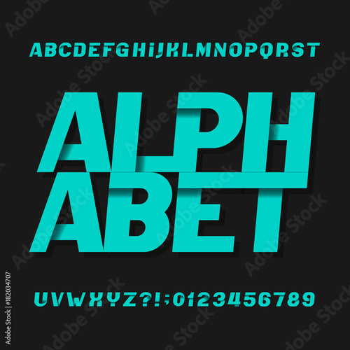 Abstract futuristic alphabet typeface  Oblique type letters