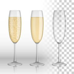 Full and empty glass of champagne and white wine isolated on a transparent background. vector glass. Holiday Merry Christmas and Happy New Year celebration concept. vector illustration