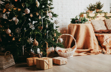 Christmas tree and presents in living room