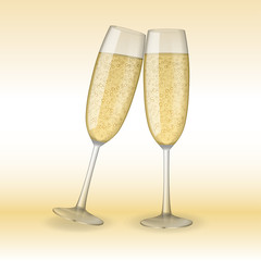 Two glasses of champagne. Holiday, Merry Christmas and Happy New Year champagne concept. Vector Illustration of champagne glasses.