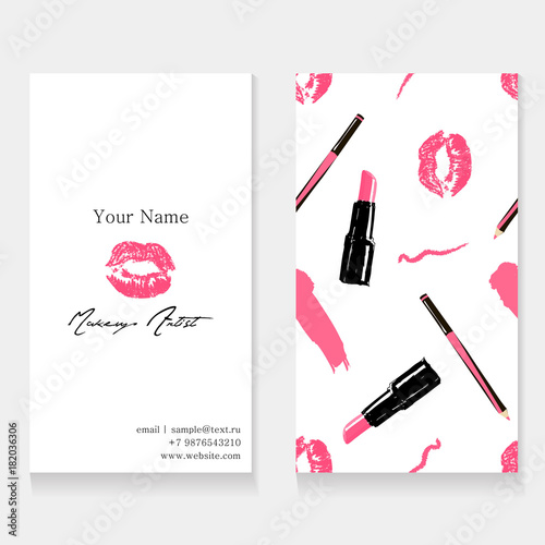 Makeup Artist Business Card Template Cosmetics Seamless Pattern