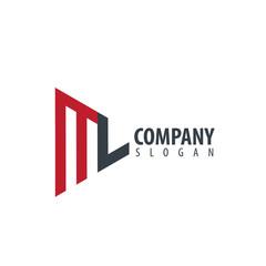 Initial Letter ML Design Logo