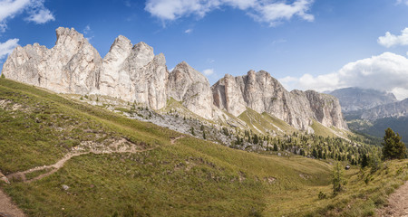 Awesome vertical dolomitic pinnacles and crest of Mount Settsass, Valparola Pass, Dolomites, Italy