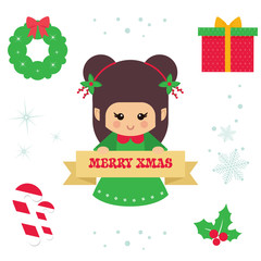 cartoon cute elf with sign christmas illustration