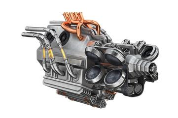 Sci-fi engine steel futuristic car. 3D rendering