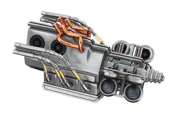 Sci-fi concept engine part machine. 3D rendering