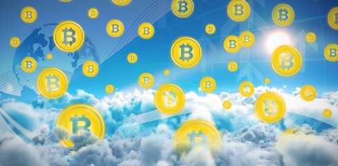 Composite image of symbol of bitcoin digital cryptocurrency