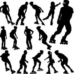rollerblade silhouettes collection - vector