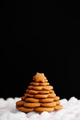 Christmas gingerbread on dark background