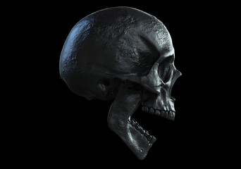 black skull screaming isolated in black background 3d illustration side view