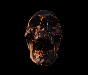 burned skull screaming wallpaper 3d illustration