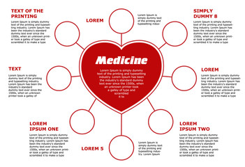 Blank horizontal template medical subjects. Red circular  infographic on white background, heart with 8 empty circles and place for text.