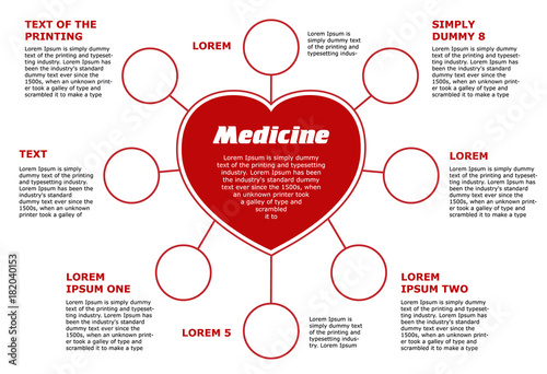 Blank horizontal template medical subjects red circular infographic blank horizontal template medical subjects red circular infographic on white background heart with 8 ccuart Choice Image