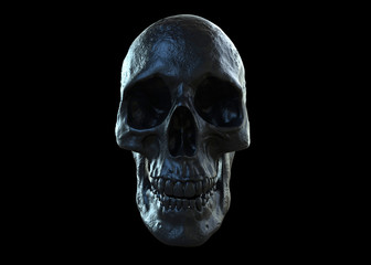 black skull isolated in black background in 3d illustration