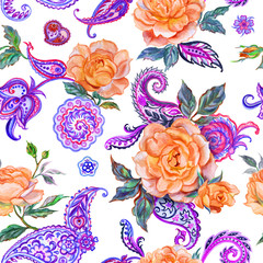 Seamless pattern of orange roses and paisley, watercolor painting on white background.