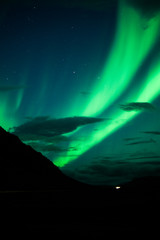 Bright and green northern lights above Iceland