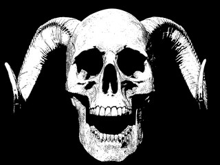 skull with horns and opened mouth isolated in background