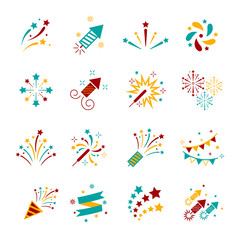 Celebration iconic. Firework icon colorful set with petard, stars. Festival and event, celebrate and party. Vector illustrator