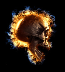 3d illustration of a skull in fire isolated in black background displayed in side view