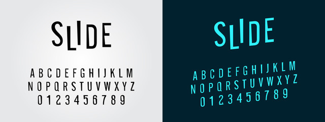 modern slide sans serif font in uppercase