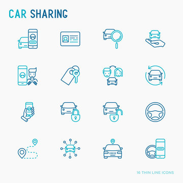 Car sharing thin line icons set of driver's license, key, blocked car, pointer, available, searching of car. Vector illustration.