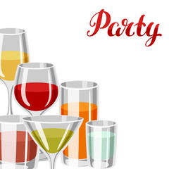 Background with alcohol drinks and cocktails in various glasses. Party invitation