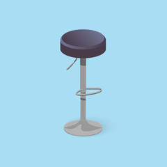 Bar stool. Bar chair. High chair. Bar interior design. Vector illustration