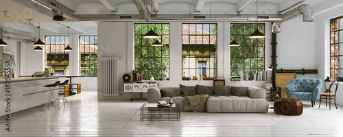 panorama view inside vintage loft apartment loft. Black Bedroom Furniture Sets. Home Design Ideas