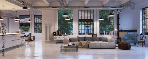 panorama view inside vintage loft apartment loft wohnung in berlin stock photo and royalty. Black Bedroom Furniture Sets. Home Design Ideas