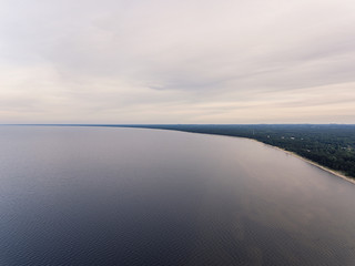 Gulf of Riga, Baltic sea at Kesterciems, Latvia. During cloudy summer evening.