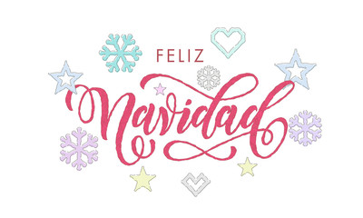 Feliz Navidad Spanish Merry Christmas calligraphy font embroidery decoration for holiday greeting card design. Vector Christmas deer, snowflake New Year decoration knitted pattern on white background