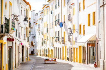 Street view with beautiful old residential buildings in Evora city in Portugal Fototapete