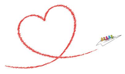 Papierflugzeug mit einem Team von Strichmännchen fliegt ein rotes Herz / Vektor-Zeichnung, freigestellt