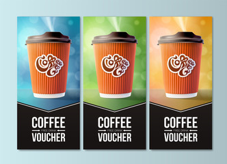 Coffee to Go Vouchers Concept. Vector EPS10