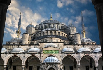 The Blue Mosque Sultanahmet in Istanbul Turkey , Sultan Ahmed Mosque in blue sky