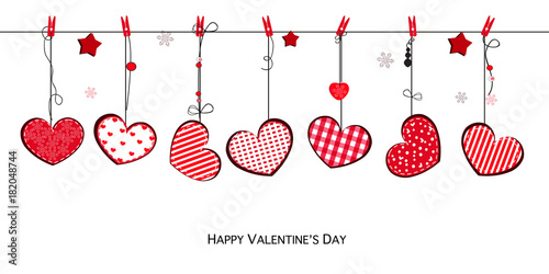 Happy Valentines Day Card With Hanging Love Valentines Cute Red