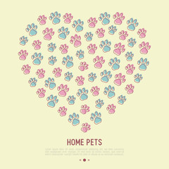 Pet paws concept in heart shape. Thin line vector illustration for pet shop, training. shelter.