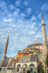 Hagia Sophia church , mosque and now museum in Istanbul Turkey exterior view at from the of Sultanahmet park