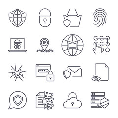 Set of 16 internet security icons. Concept of protected internet. Thin line and perfect vector for sites, apps, programs and other. Editable stroke.