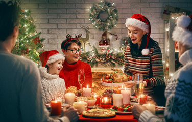 Family celebrates Christmas.