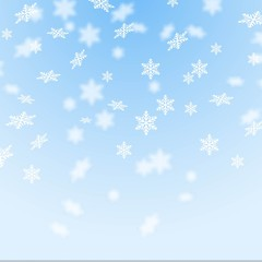 Bright background with snowflakes, winter season backdrop. Festive vector illustration.